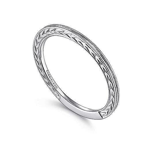 14k White Gold Engraved Milgrain Slim Stackable Ring