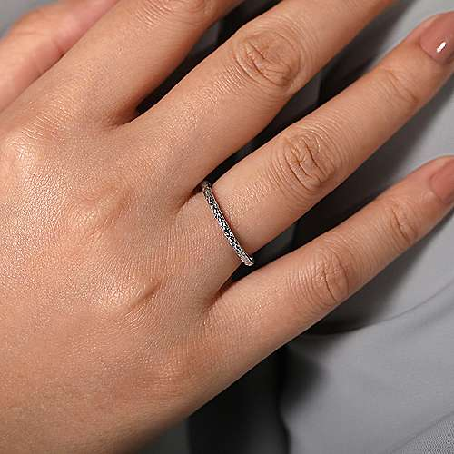 14k White Gold Engraved Stackable Ring
