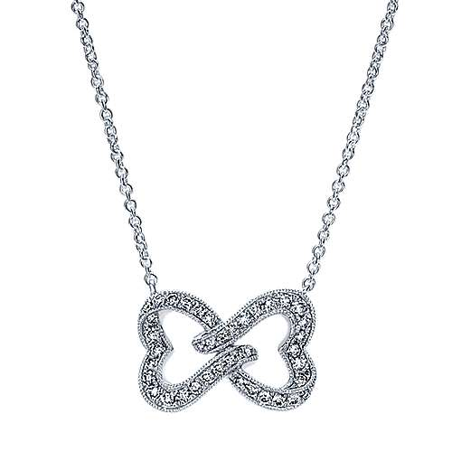 14k White Gold Entwined Open Hearts Diamond Necklace