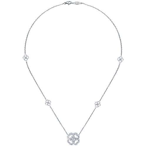 14k White Gold Eternal Love Fashion Necklace angle 2