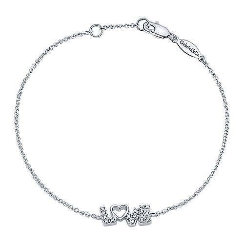 14k White Gold Eternal Love Heart Bracelet