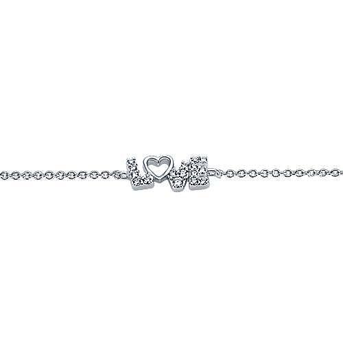 14k White Gold Eternal Love Heart Bracelet angle 2