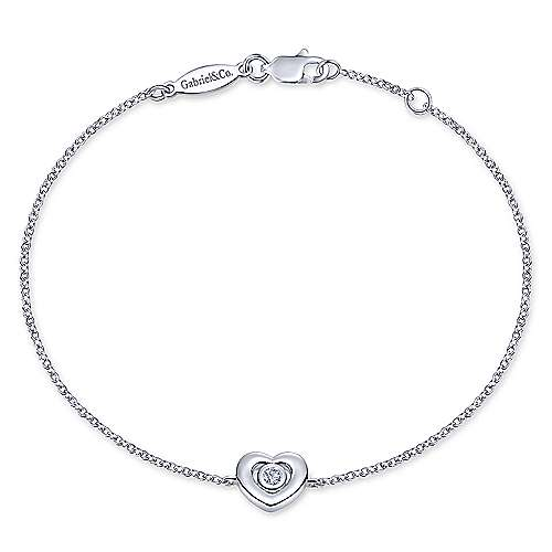14k White Gold Eternal Love Heart Bracelet
