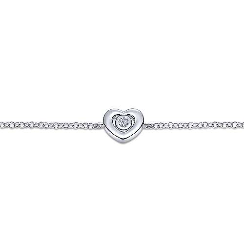 14k White Gold Eternal Love Heart Bracelet angle 2