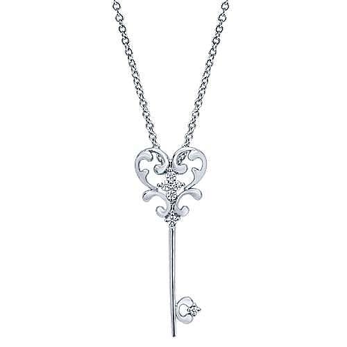 14k White Gold Eternal Love Key Necklace