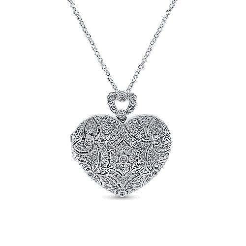 14k White Gold Eternal Love Locket Necklace angle 1