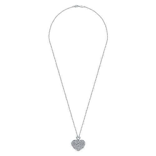 14k White Gold Eternal Love Locket Necklace angle 2