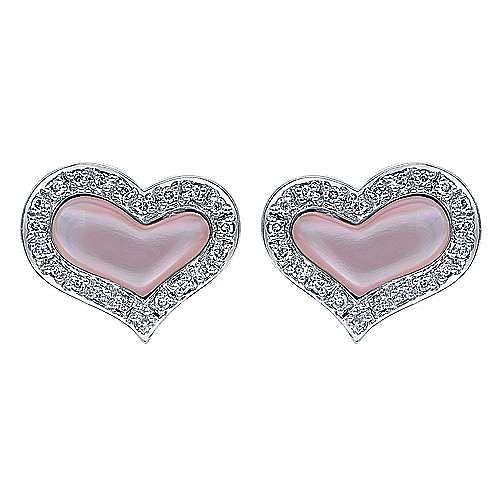 14k White Gold Eternal Love Stud Earrings angle 1