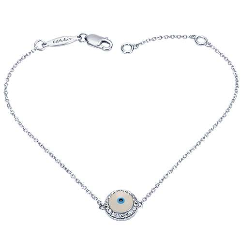 14k White Gold Evil Eye Chain Bracelet angle 3