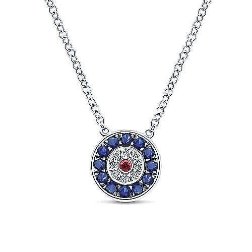 14k White Gold Evil Eye Fashion Necklace angle 1