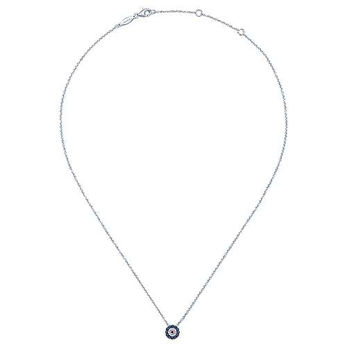 14k White Gold Evil Eye Fashion Necklace angle 2