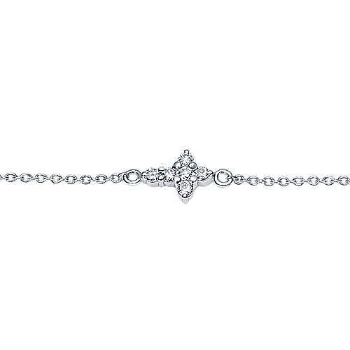 14k White Gold Faith Cross Bracelet angle 2