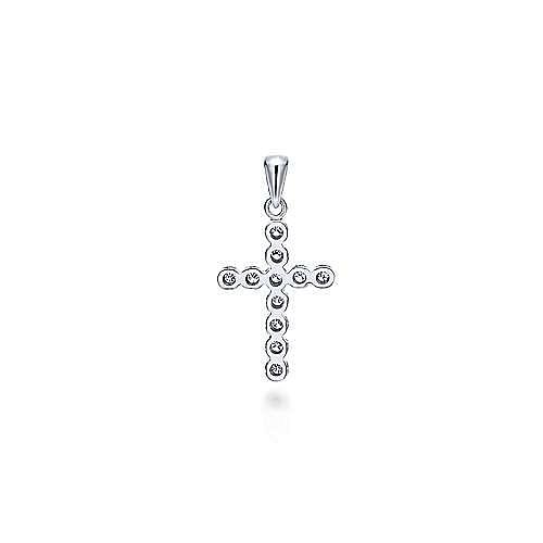 14k White Gold Faith Cross Cross Pendant angle 2