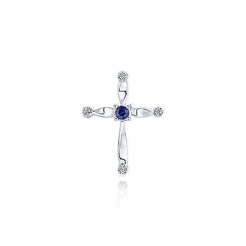 14k White Gold Faith Cross Cross Pendant angle 1