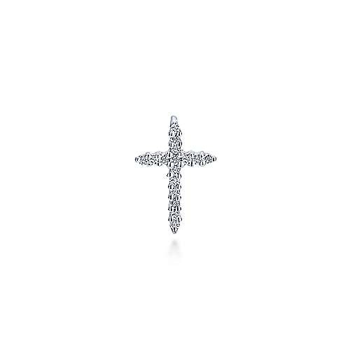 14k White Gold Faith Cross Cross Pendant