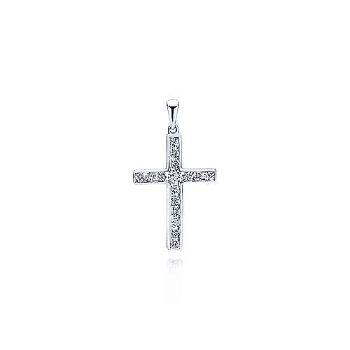 Gabriel - 14k White Gold Faith Cross Cross Pendant