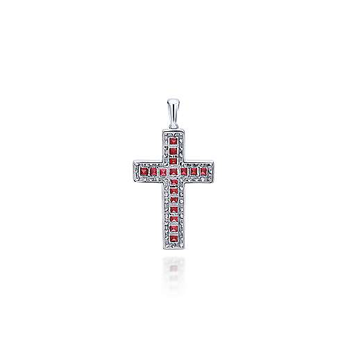 14k White Gold Faith Cross Cross Pendant angle 2