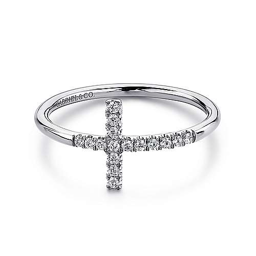 14k White Gold Faith Cross Ladies' Ring angle 1