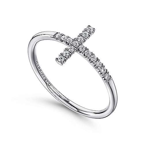 14k White Gold Faith Cross Ladies' Ring angle 3
