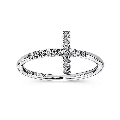 14k White Gold Faith Cross Ladies' Ring angle 4