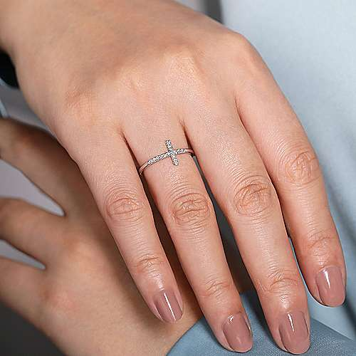 14k White Gold Faith Cross Ladies' Ring angle 5