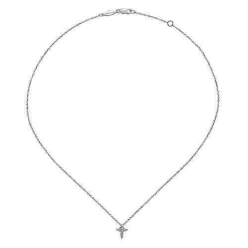 14k White Gold Faith Cross Necklace angle 2