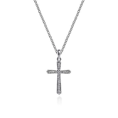 Gabriel - 14k White Gold Faith Cross Necklace