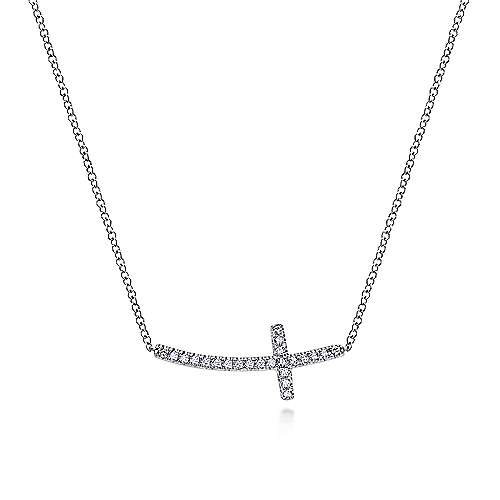 14k White Gold Faith Cross Necklace angle 1