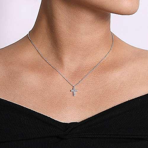 14k White Gold Faith Cross Necklace angle 3