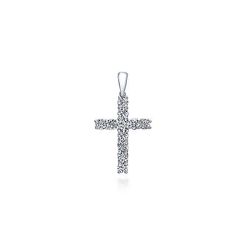 14k White Gold Faith Cross Pendant angle 1