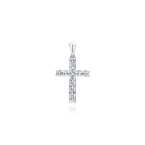 14k White Gold Faith Cross Pendant angle 2
