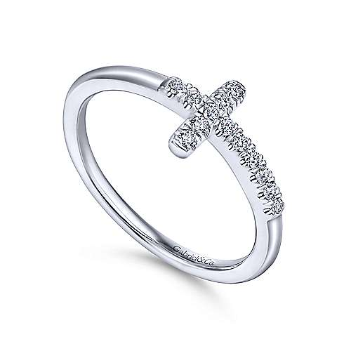 14k White Gold Faith Fashion Ladies' Ring angle 3