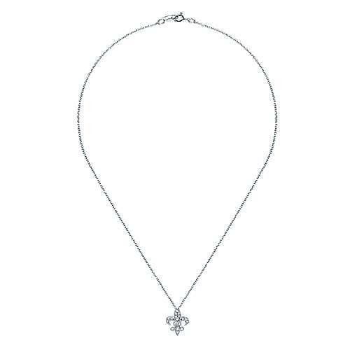 14k White Gold Faith Fleur De Lis Necklace