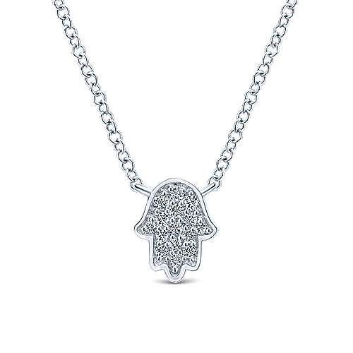 14k White Gold Faith Hamsah Necklace angle 1