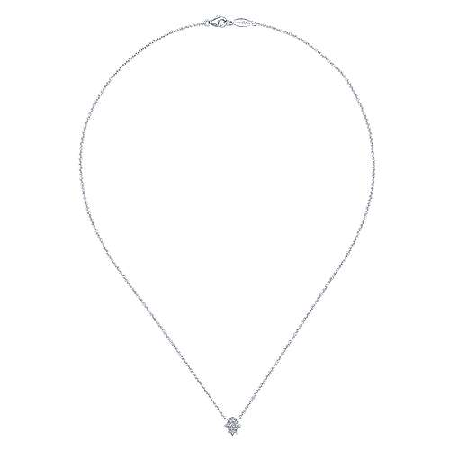 14k White Gold Faith Hamsah Necklace angle 2
