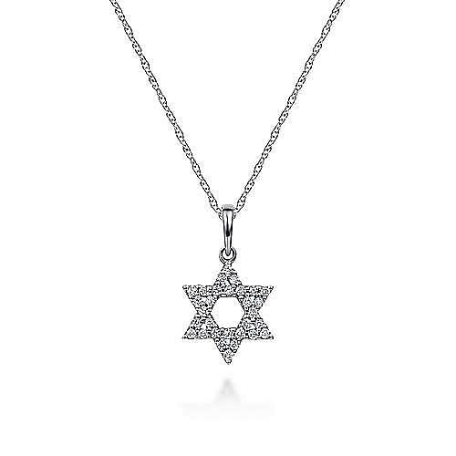 14k White Gold Faith Star Of David Necklace angle 1
