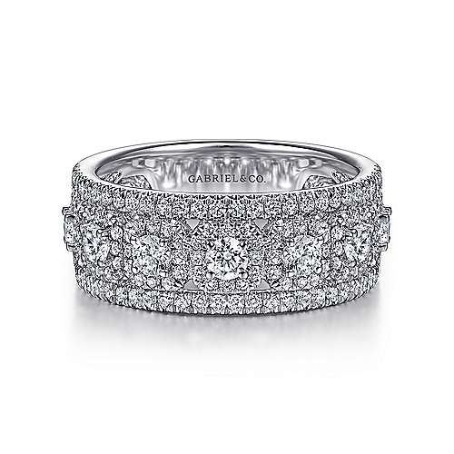 Gabriel - 14k White Gold Fancy Anniversary Band