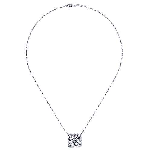 14k White Gold Fierce Fashion Necklace angle 2