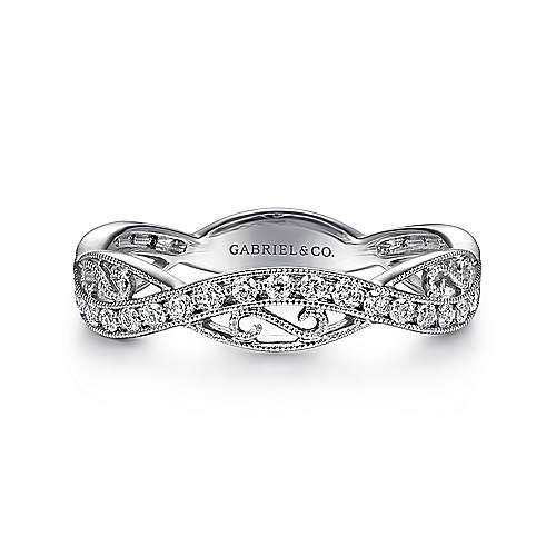 Gabriel - 14k White Gold Filigree Detailed Diamond Stackable Ring