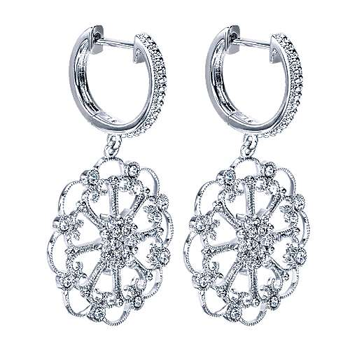 14k White Gold Flirtation Drop Earrings angle 2