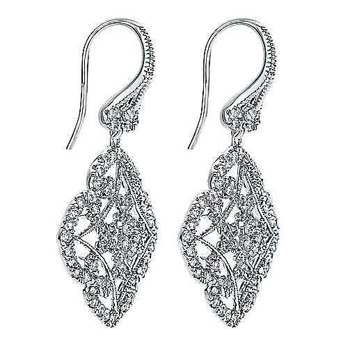 14k White Gold Flirtation Drop Earrings angle 2