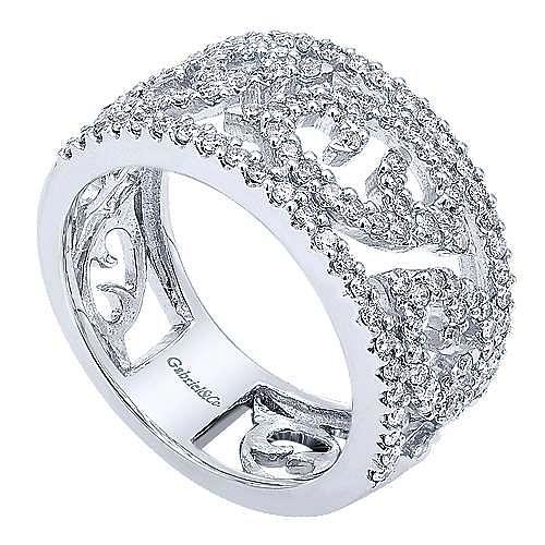 14k White Gold Flirtation Fashion Ladies' Ring angle 3