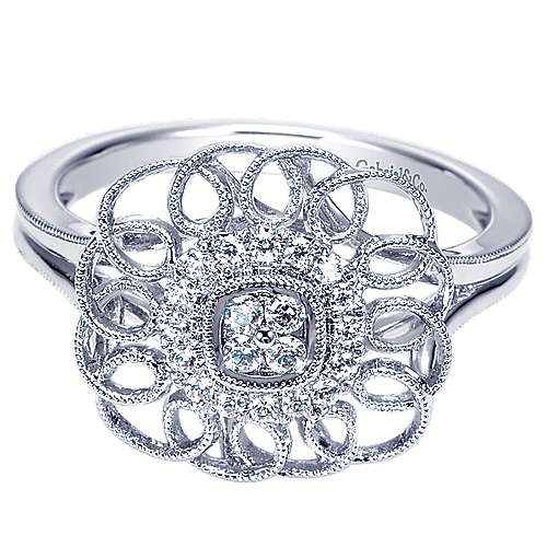 14k White Gold Flirtation Fashion Ladies' Ring angle 1