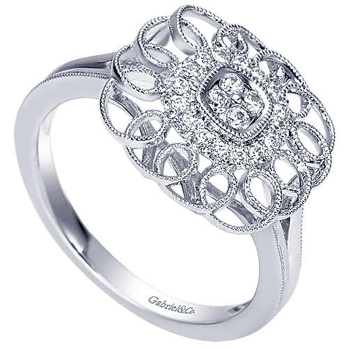 14k White Gold Flirtation Fashion Ladies' Ring angle 3