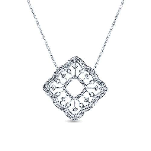 14k White Gold Flirtation Fashion Necklace angle 1