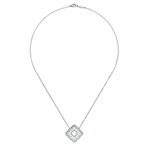 14k White Gold Flirtation Fashion Necklace angle 2