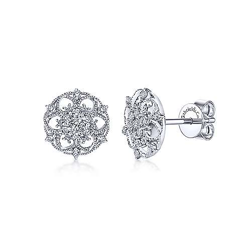 14k White Gold Flirtation Stud Earrings angle 1