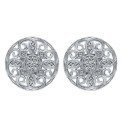 Gabriel - 14k White Gold Flirtation Stud Earrings