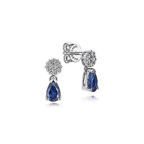 7ae77d8e3 14k White Gold Floral Diamond Pear Shaped Sapphire Stud Earrings ...