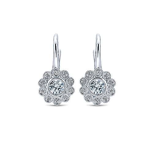 Gabriel - 14k White Gold Floral Drop Earrings